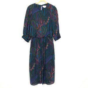 Vintage Paisley Midi Dress Puff Sleeves